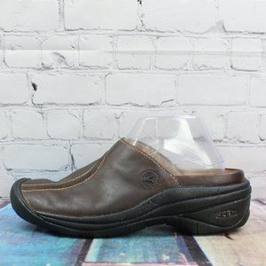 KEEN Footwear Mules Clogs Brown Leather Size 9
